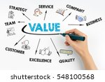 value concept. hand with black... | Shutterstock . vector #548100568