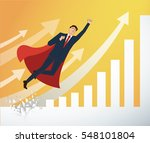 businessman and red cape... | Shutterstock .eps vector #548101804