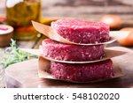 organic raw ground beef  round...   Shutterstock . vector #548102020