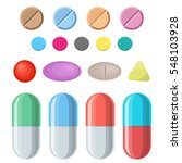 set of vector pills and... | Shutterstock .eps vector #548103928