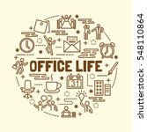 office life minimal thin line... | Shutterstock .eps vector #548110864