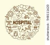 hospital minimal thin line...