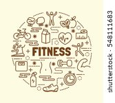 fitness minimal thin line icons ... | Shutterstock .eps vector #548111683