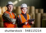 paper mill factory workers | Shutterstock . vector #548115214