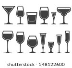 set of wine glasses different... | Shutterstock .eps vector #548122600