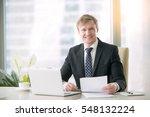 portrait of smiling handsome... | Shutterstock . vector #548132224