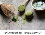 raw organic green matcha tea in ... | Shutterstock . vector #548133940