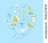 ecology emblem on blue... | Shutterstock .eps vector #548137870