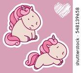 vector set of of cute unicorn... | Shutterstock .eps vector #548139658