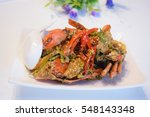 crab curry dish put on the... | Shutterstock . vector #548143348