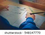 hands with pencil over... | Shutterstock . vector #548147770