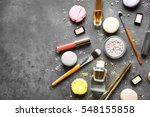makeup cosmetic with macaroons... | Shutterstock . vector #548155858