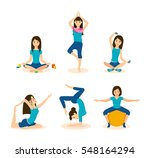 Girls Doing Yoga And Meditatio...