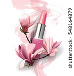 lipstick with flowers magnolia. ... | Shutterstock .eps vector #548164879