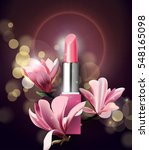 lipstick with flowers magnolia. ... | Shutterstock .eps vector #548165098