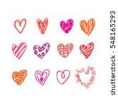 heart doodles  valentine concept | Shutterstock .eps vector #548165293