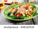 fresh salad with chicken breast ... | Shutterstock . vector #548165920