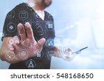 designer hand pressing an...