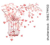 open bird cage among flowers... | Shutterstock .eps vector #548179933