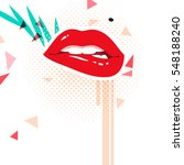 red lips on white background | Shutterstock .eps vector #548188240