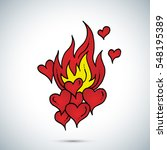 fire and red hearts freehand... | Shutterstock .eps vector #548195389