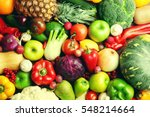 autumn fruits and vegetables... | Shutterstock . vector #548214664