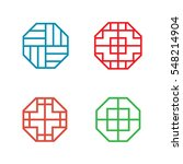 Set Of Hexagon Korean Pattern...
