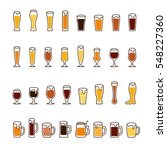 beer in glasses and mugs with... | Shutterstock . vector #548227360