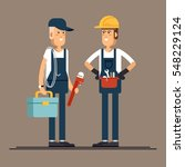 couple plumber workers  male... | Shutterstock .eps vector #548229124