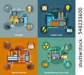 industry 4 flat icons square... | Shutterstock .eps vector #548233600
