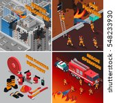 Fireman Isometric Concept With...