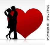 man and woman couple kissing... | Shutterstock .eps vector #548245408