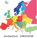 colorful political map of europe | Shutterstock . vector #548252038