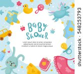 baby shower card template.... | Shutterstock .eps vector #548253793