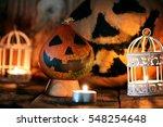 Pumpkin Head And Candles Decor