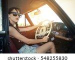 car woman happy in old retro... | Shutterstock . vector #548255830