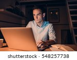 young businessman working on a...   Shutterstock . vector #548257738