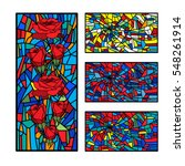 collection stained glass... | Shutterstock .eps vector #548261914