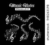 wavy music staves. vector set...