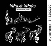 wavy music staves. vector set... | Shutterstock .eps vector #548263210