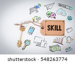 skill concept. key and a note... | Shutterstock . vector #548263774