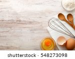 baking ingredients flat lay on... | Shutterstock . vector #548273098