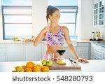young happy woman doing fresh... | Shutterstock . vector #548280793