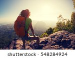 successful hiker hiking on... | Shutterstock . vector #548284924