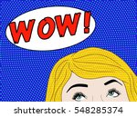 pop art blonde woman with half... | Shutterstock . vector #548285374