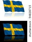 swedish flag flowing | Shutterstock .eps vector #54828715