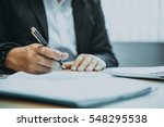close up of people working with ... | Shutterstock . vector #548295538