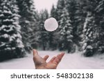 Man Hand Playing With Snowball...