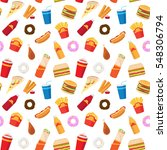 vector fast food pattern or... | Shutterstock .eps vector #548306794