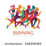 running marathon  people run ... | Shutterstock .eps vector #548308483